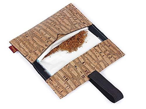 Bolsa para Tabaco hecha de corcho / piel de corcho vegana - Funda, estuche para tabaco de liar con compartimento adicional para mechero, filtros y papeles - by SIMARU (Floral)