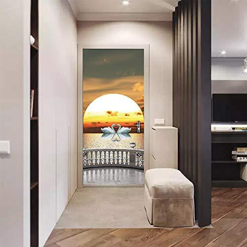 Tapeta Ścienna Do Drzwi 3D Naklejka Na Drzwi Jezioro Łabędzie Naklejki Na Ścianę Do Domu Naklejki Do Salonu Dekoracja Korytarza