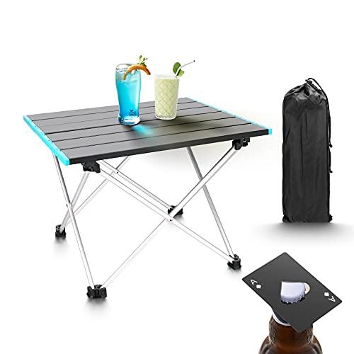 ceuao Tavolo Pieghevole Compatto, Tavolino da Giardino - In Alluminio, Tavolino Pieghevole, Tavoli Pieghevoli da Interno, Barbecue da Tavolo, con Borsa di Trasporto+Cavatappi