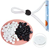 PHLSTYLE Cord Locks SiliconeElastic Cord Lock with Beading Line,Toggles for Drawstrings Non Slip Stopper(Black and White,100 PCS)