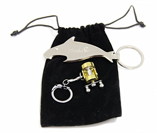 Mimilure Fishing Reel Keychain and Fish Style Beer Opener Keychain, Miniature Fishing Gift for Anglers (Trolling Reel+Fish Style A Keychain)