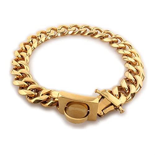 A+TTXH+L Collar Perro Cuello de Cadena de Perros de Metal Acero Inoxidable Pet Entrenamiento de Mascotas Collar de estrangulador para Perros Grandes Pitbull Bulldog Silver Gold Show Collar