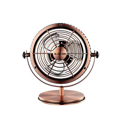 ZB-KK Ventilador SZQ de metal, diseño antiguo, para café, estilo retro, silencioso, circulación, silencioso, 23,5 x 23,5 cm