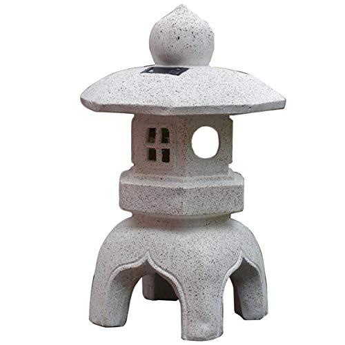 WEN Japanischer Außen Solar Palace Laterne, Weinlese-Garten-Solarlampe Pagode Skulptur-Garten-Dekoration
