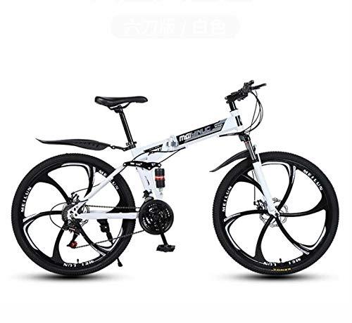 Bicicleta de montaña plegable Bicicleta para adultos, cuadro de acero con alto contenido de carbono, horquilla de suspensión de resorte, freno de doble disco, pedales de PVC,Blanco,26 inch 21 speed