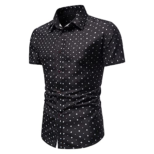 Henley Camisa Hombre Verano Clásico Moda Botón Placket Hombre Shirt Moderna Básica Slim Fit Stretch Hombre Tradicional Camisa Urbana Casual Vacaciones Hombre Manga Corta B-Black 3XL