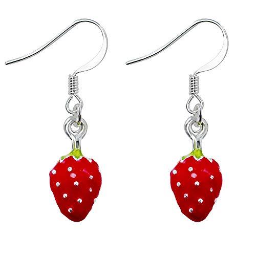 Treuheld   ERDBEEREN Ohrringe/Ohrhänger - süße Erdbeere Hänger fürs Ohr   Obst rot ausgefallene Ohrringe - Frucht FRÜCHTE Strawberry Rockabilly Damen Kostüm Karneval Fasching Edelstahl Silber