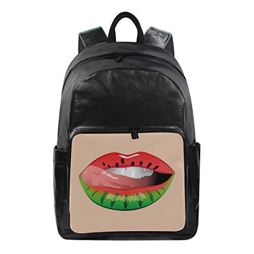LZXO Unisex Schulrucksack, Wassermelone, Lippenstift, wasserabweisend, Segeltuch, leicht, Organizer...