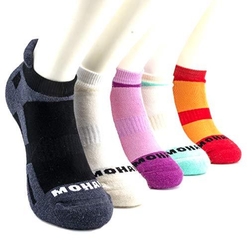 ALLES MOOI MOHAIR Low-Lip Socks, 75% Natural Fiber Content, Blister Resist, Cushioned, Ideal for Running, Golf or General Purpose, BLACK, BREEZER model