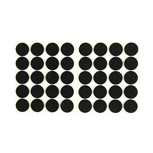 uxcell Furniture Pads Round Self-Stick Non-Slip Anti-Scratches Felt Pads Floors Protector 15mm Dia 40pcs for Home Black