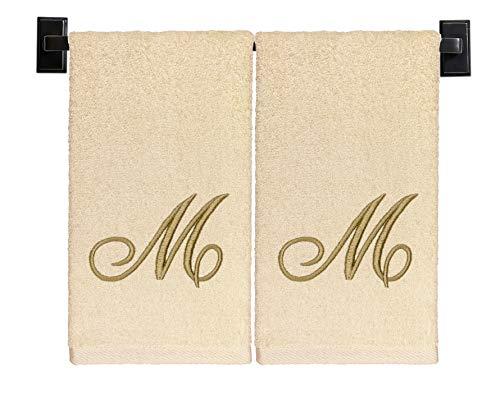 Toallas de mano monogramadas, juego de 2, 100% algodón, fabricadas en Estados Unidos, calidad de hotel de lujo, bordado de hilo dorado con monograma