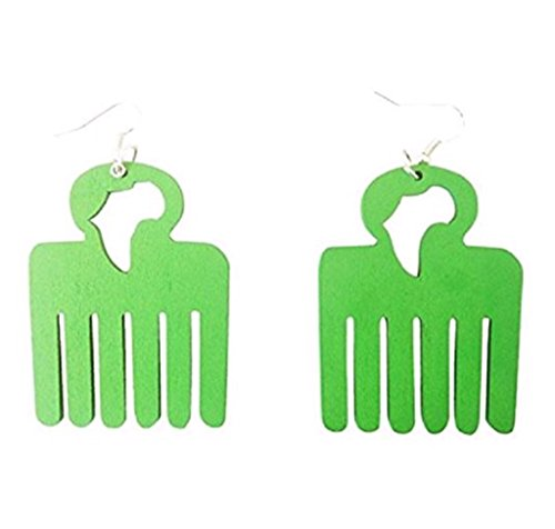 Africa Afro Pick Earrings (Green)