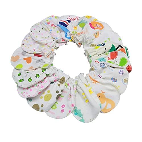 LIXBD 20 Paar Fäustlinge für Neugeborene, Baumwolle, Anti-Kratzen, Babyhandschuhe, Gesichtsschutz, Handschuh für Säugling, Jungen und Mädchen