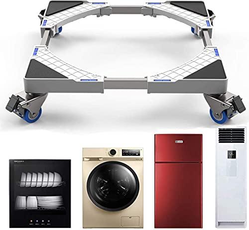 Base Lavatrice, SEISSO Carrello Lavatrice con Ruote per Lavatrice Asciugatrice e Frigorifero, Regolabile Lunghezza, Larghezza 44,8 a 69 cm, Altezza 8 cm, Capacità di Peso 300 kg, bianca