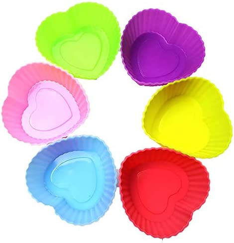 6 Pc 1 97inch Diameter Small Mini Colorful Silicone Cupcake mold Reusable Heart Shape Baking product image