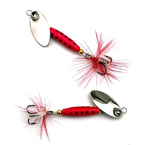 Farleyshop DYYW-Lure, 1pcs Metal Spinner Spoon Lure Silver/red Color Iscas Artificiais Sequin Bait 6# Hook Hard Lure Lake Fishing