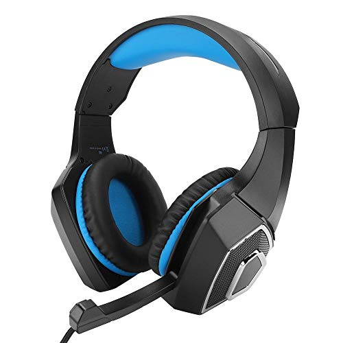 Bekabelde Hoofdtelefoon,Professionele Mode Bekabelde Stereo Computer Gaming Headset Met 3D Surround Heavy Bass-geluid, Ruisonderdrukkende Microfoon,RGB-licht, voor PC/Game(Zwart en blauw)