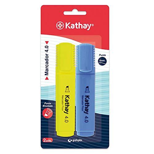 Kathay 86211998. Pack de 2 Subrayadores, Color Amarillo y Azul, Punta Biselada 4mm