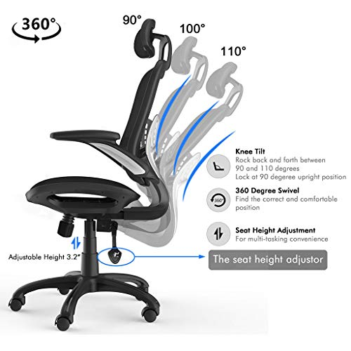 Komene Ergonomic Office Chair High Adjustable Back Mesh Desk Chairs,Computer Chair Lumbar Support Modern Executive with Rolling Swivel Chair for Back Pain, Black (Black, L)