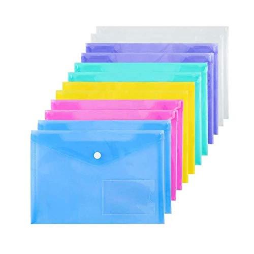 12 Piezas Carpeta De Plástico, Carpeta Transparente Colorida, Carpeta, Documentos En Plástico, Sobres De Plástico A5, para Utilizado en Oficinas, Escuelas, Oficinas en el Hogar, 6 Colores