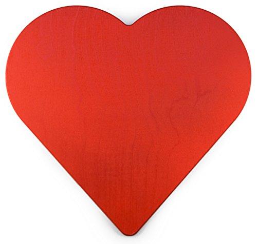 Holz Herz Rot | Größe: 30,5 x 28,7 x 0,9 cm | für Deko, Hochzeit, Geschenk, Valentinstag, Maibaum etc. | Hochwertiges Birkenholz | für Indoor + Outdoor | Made in Germany | ❤️ Sonderpreis ❤️