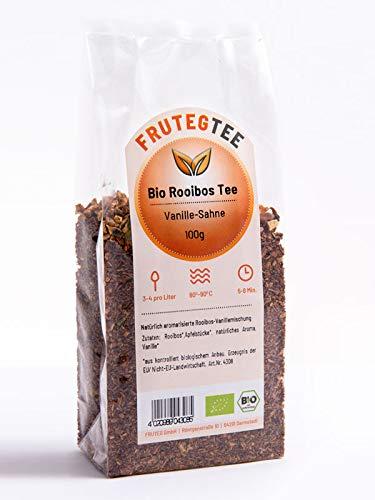 FRUTEG Bio Rooibos Tee Vanille-Sahne lose 1000 g I Loser Rotbusch-Tee - feinste Blatt-Qualität I Abgerundet durch edle Vanillestückchen I Aus kontrolliert biologischem Anbau I 1 kg