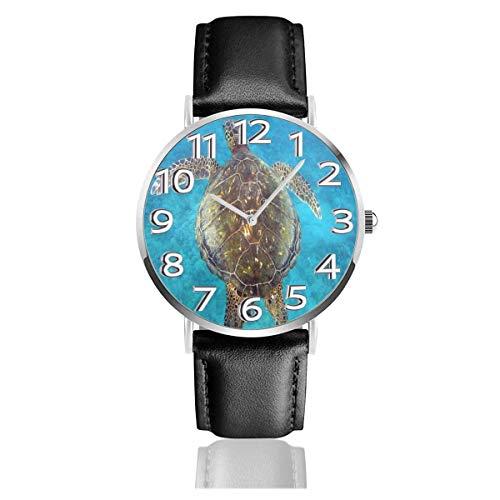 Reloj de Pulsera Concha de Tortuga Durable PU Correa de Cuero Relojes de Negocios de Cuarzo Reloj de Pulsera Informal Unisex