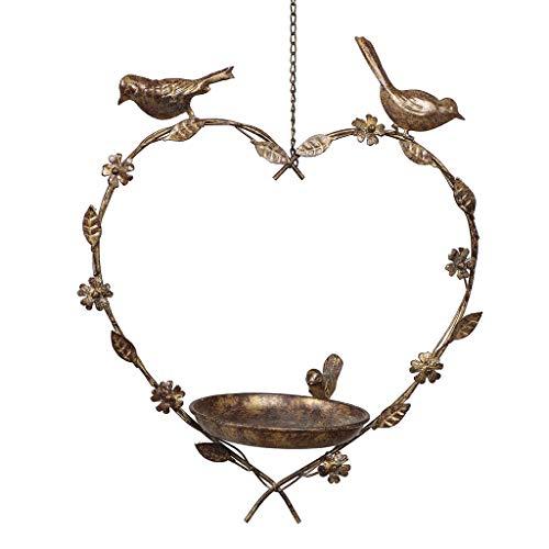 Dibor Bird Feeder Dish Vintage Hanging Heart Spring Garden Accessory