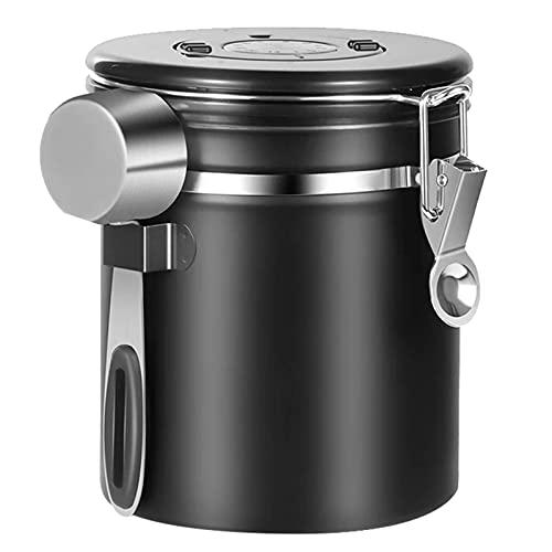 Kacsoo Latas de café selladas, válvulas de desagüe de acero inoxidable, depósitos de almacenamiento sellados transpirables con cucharas, depósitos de conservación de frescor, latas de café