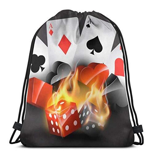 Affordable shop Popular Playing Cards 3D Print Drawstring Backpack Rucksack Shoulder Bags Gym Bag for Adult 16.9