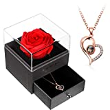 Collar I Love You Collar Colgante de Corazón de Proyección de 100 Idiomas Collar de Clavícula con Memoria Amorosa de Cristal con Caja de Almacenaje de Joyas de Rosa Roja para San Valentín