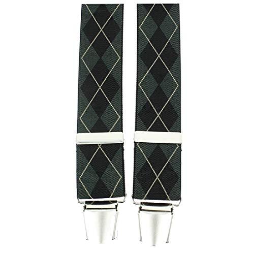Tony & Paul. Bretelle. 4 clips carreaux, Viscose. Vert, carreaux. Fabriqué en Italie.