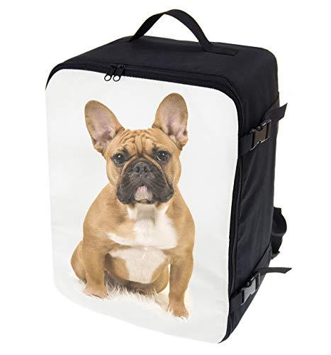 Multifunctionele handbagage rugzak gewatteerde vliegtuigtas handtas reistas rugzak gevoerde koffer voor vliegtuig afmetingen 40 x 30 x 20 cm sticker 2 (102], Bulldog (meerkleurig) - TOR-SAM-03