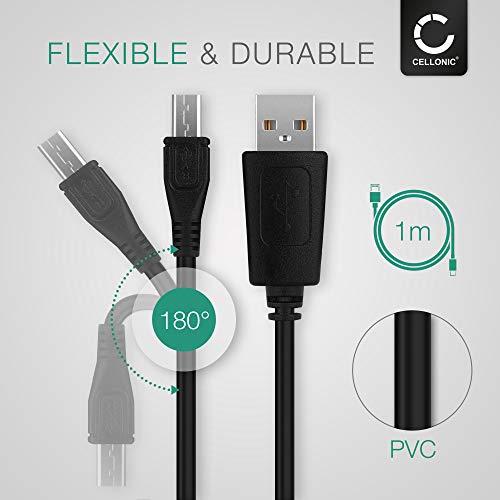 CELLONIC® USB Datenkabel (Langer STECKER, 1m) kompatibel mit Geotel G1 / A1 / Amigo/Note (Micro USB auf USB A (Standard USB)) USB Kabel Ladekabel schwarz