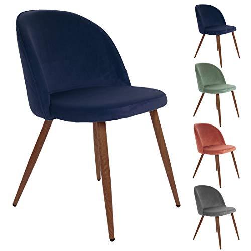 All About - Juego de 2 sillas de comedor de terciopelo de romero con patas de metal de nogal efecto madera, perfecto para sala de estar, dormitorio y comedor, color azul
