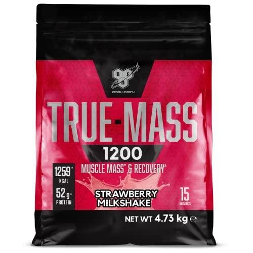 BSN True Mass 1200, Mass Gainer Eiweisspulver mit Protein Isolat und Casein zum Muskelaufbau, Strawberry Milkshake, 15 Portionen, 4,73 kg