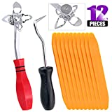 Swpeet 12Pcs Windshield and Glass Repair Tools Kit, Including 48600 Offset Windshield Locking Strip Tool and Hose Removal Hooks with Tapered End Windshield Stick Setting Tool