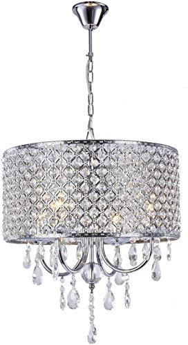 4 lmparas de techo ligero E14 Moderno colgante de accesorios de ronda de montaje en descarga, lmpara colgante de plata, lmpara de cristal, iluminacin de cristal para dormitorio, moderno, pasillo,