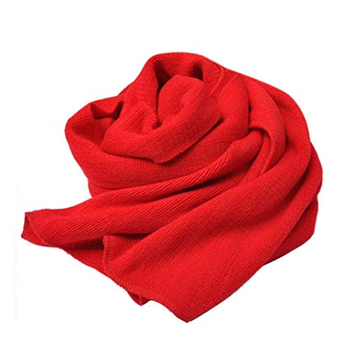 Adelina sjaal lang gebreid katoen effen zacht warm vrouwen Dchen Aan de mode kaki rood mosterdgeel doeken en sjaals