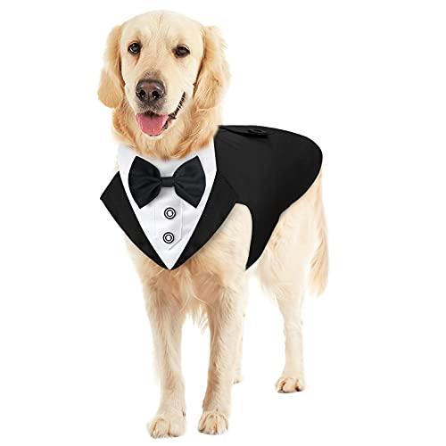 Malier Formal Dog Tuxedo Dog Suit and Bandana Set, Stylish Dog Tuxedo Wedding Suit with Detachable Collar and Bandana Scarf Dog Costume for Small Medium Large Dogs Poodle, Labrador, Golden Retriever