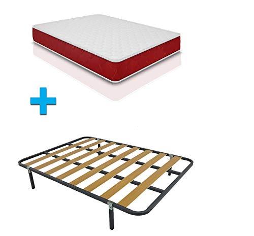 Duermete Cama Completa con colchón viscoelástico viscogel Reversible + somier Basic + 4 Patas, Conjunto, 135 x 190