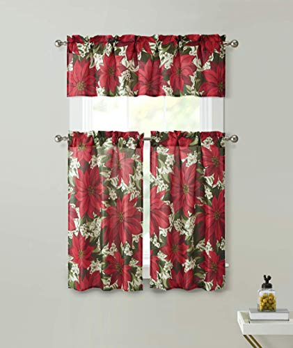 GoodGram Holiday Classic Christmas Poinsettia 3 Pc Café Kitchen Curtain Tier & Valance Set