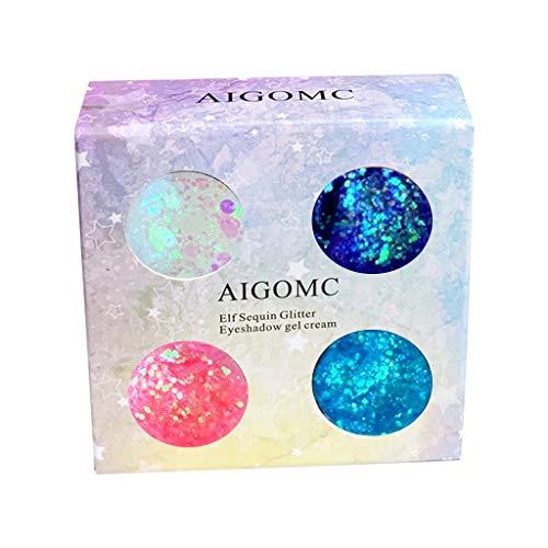 Paillettes Ombre à Paupières, Fulltime 4 Colorées Paillettes Ongles Visage Corps Paillettes Beauté Maquillage Brillant Poudre (A)
