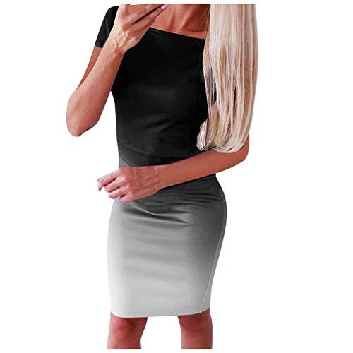 Keerads- Mini vestido informal de manga corta para mujer, cuello redondo, banda vintage para mujer, vestido de noche, casual, ajustado gris M