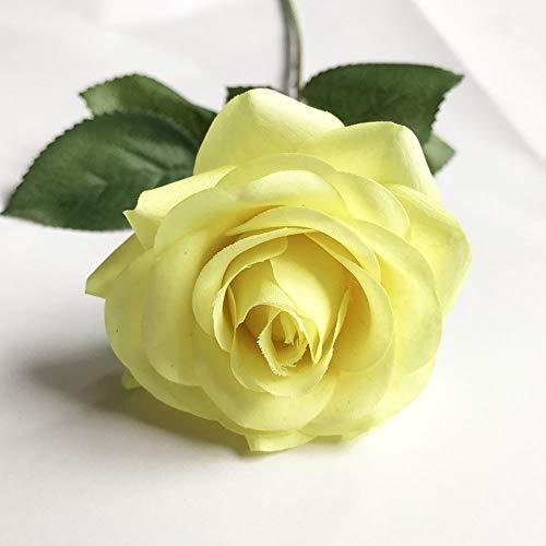 Jun7L Rosen 10 Stück Real Touch Schöne Echtes Moisturizing Curling Knospe Latex künstliche Rose Kunstblumen Blume Dekoration Blumenstrauß Blumenarrangement Gelb B 45X6.5CM