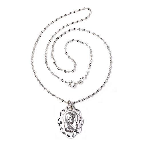Colgante Plata Ley 925M Virgen Niña 24mm. Medalla Oval Calada Cadena 45cm. Lumina Tallada Reasa - Personalizable - Grabación Incluida En El Precio