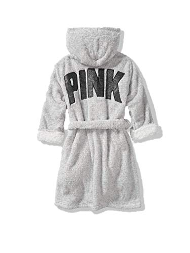 Victoria Secret. Pink Hooded Sherpa Lined Cozy Short Plush Robe 2018 (So Silver, X-Small/Small)