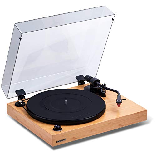 Fluance RT83 Reference High Fidelity Vinyl Turntable Record Player with Ortofon 2M Red Cartridge, Speed Control Motor, Solid Wood Plinth, Vibration Isolation Feet - Bamboo