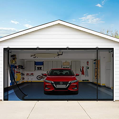Yotache Magnetic Garage Screen Doors for 2car Garage 16×7 Ft, Double Garage Doors Mosquito Net Curtain with Magnets for Two Car