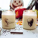 Halloween Candle Decor - Skull & Crow - Haunted Woods Scented